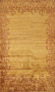 Bordered Contemporary Oriental Area Rug Hand-knotted Gold Modern Carpet 5x8 ft
