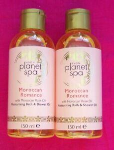 2 x AVON Planet Spa Moroccan Romance Bath & Shower Oil with rose oil150 ml (B)