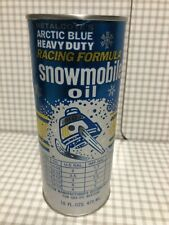 Vintage Original Snowmobile Oil Can Metalcote's Arctic Blue 16oz (473ml)