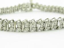 14 Quilates Oro Blanco Diamante Original Dos Filas Diseño Estilo de Onda
