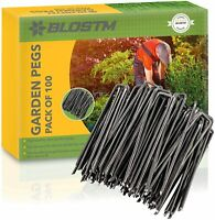 100 x Black Galvanised Garden Pegs Landscape Staples U Pins 30 x 150mm Hooks