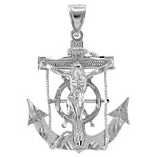White 14k Gold Mariner Crucifix Anchor Cross Pendant
