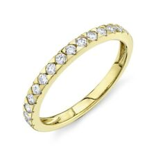 Womens 2 MM 14K Yellow Gold Round Diamond Wedding Ring Band Triangle Prong Set