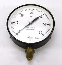 """160 mm MANOMETER Senkrecht 0 bis 60 mbar überdrucksicher G 1/2"""""""
