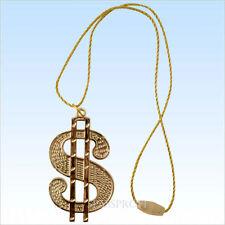 Halsband mit goldenem Dollar Medaillon für Big Daddy, Gangsta Rapper + Protzen