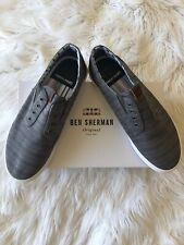 Ben Sherman Mens Percy Laceless Navy Linen Sneakers 11M Tennis Shoes Sneaker