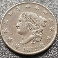 1819 Large Cent Coronet Head One Cent 1c High Grade XF - AU Details #22634