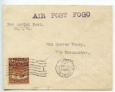 NEWFOUNDLAND 1921 AIR POST FOGO pmk ST JOHNS flight delayed -b/s MR 28 FOGO cds