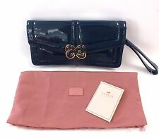 Ladies Navy & Gold Tone RADLEY Patent CLUTCH BAG With Dust Bag  - R16
