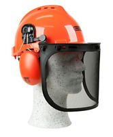 OREGON Yukon Chainsaw Safety Helmet with Protective Ear Muff and Mesh Visor, Hat