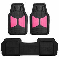 Pink Black Floor Mats 3pcs Set All Weather Heavy Duty Auto Mats Universal Fit