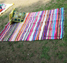 MULTICOLORED CHINDI RAG RUGS STRIPED RECYCLED COTTON MATS FAIR TRADE 90X150CM