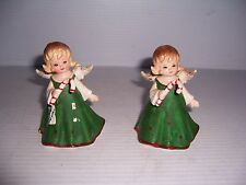 VINTAGE SET OF 2 LEFTON CHINA CHRISTMAS ANGEL GIRL HOLDING CANDY CANE FIGURINES