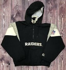 Vintage STARTER NFL Oakland Raiders 1/4 Zip Overcoat Size Youth Large