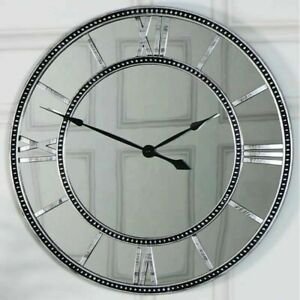 Large Mirrored Glass Roman Numeral Wall Clock 55CM Stunning