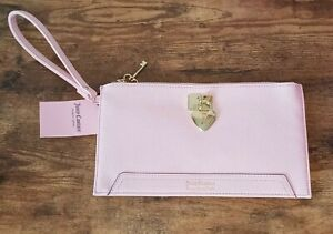 Juicy couture pink Wristlet Clutch pouch wallet gold key&heart under lock n key