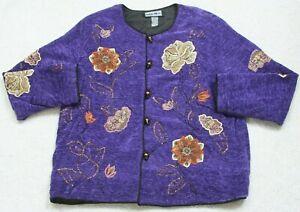 Indigo Moon Purple Dress Jacket Coat Woman's Button Front Size XL Extra Large