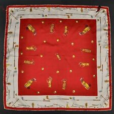 BRIONI Red Golf Motif Silk Mens Large Pocket Square / Womens Scarf - 23 x 23