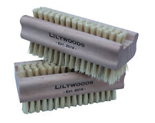 Lilywoods Extra Tough Wooden Nail Brush Strong Cactus 2 Sided Bristles Twin Pack
