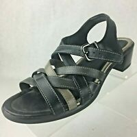 Ecco Womens Black Leather Sandals Strappy Slingback Low Heel 37 US 6 - 6.5