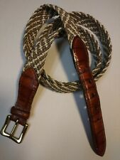 MADE BY HAND IN AMERICA SOLID BRASS BUCKLE CORD 44 BELT MEN'S 90S LEATHER EMBOSS