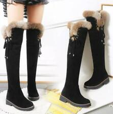 Womens Suede Over Knee High Boots Fur Trim Pull On Snow Boots Winter Warm Shoes
