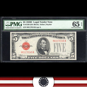 1928-E $5 LEGAL TENDER * RED SEAL* PMG 65 EPQ Fr 1530  H61170145A