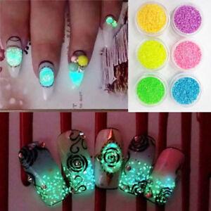 3D Glow in the Dark Glitter Nail Decoration DIY Luminous Nail Art Tips Manicure