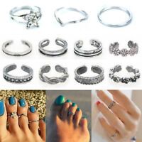 Vogue Celebrity Silver Daisy Toe Ring Women Punk Style Foot Finger Jewelry Set