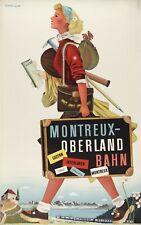 Vintage Travel Poster Montreux Oberland Bahn Switzerland 37.4 x 24 inch