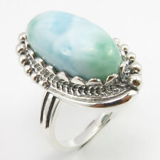 925 Solid Silver ART Ring Size 8 ! Natural LARIMAR Thanksgiving Day Gift