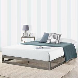 """9"""" Metal Platform Bed Frame w/Heavy Duty Steel Slat Mattress Full 9"""" Grey"""