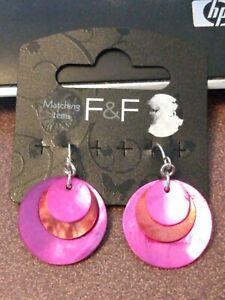 F & F pink and orange circles genuine shell dangle earrings