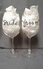 Set of 2 Bride & Groom Wine Glasses Wedding Toast Bride Groom Anniversary Favors