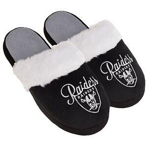 Las Vegas Raiders Womens Colorblock Fur Slide Slippers NFL New Style