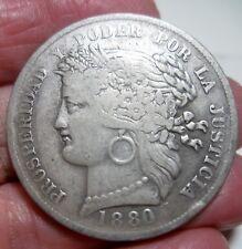 1880-B  (PERU) 5 PESETAS -very very scarce---