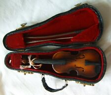"""Small collectible miniature violin authentic in case with bow 5"""""""