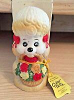 VTG 1980 CRITTER BELLS Porcelain Bisque Poodle Doggy w Flower Basket Handcrafted