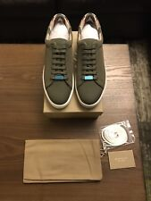 New Burberry Westford Canvas Men Sneakers Shoes Plaid Army Green 42 / 12 $590