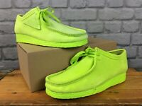 CLARKS ORIGINALS MENS UK 9 EU 43 WALLABEE NEON LIME SUEDE SHOES RRP £115 EP