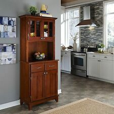 Cherry Brown Wood Top Buffet Hutch Cabinet Server Home Living Furniture Kitchen