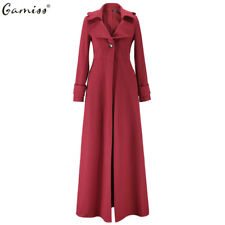 Women Full-Length Winderbreaker Wool Blend Jacket Slim Fit Long Trench Coat UK