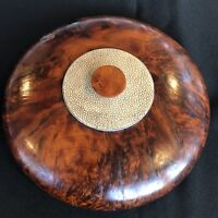 Vintage Antique Burl Wood & Shagreen Round Trinket Box Hand Crafted Collectible