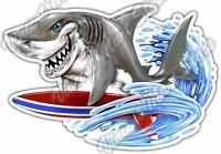 "Shark Surfing Sea Life Fish Beach Resort Car Bumper Vinyl Sticker Decal 5""X4"""