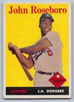 1958  JOHN ROSEBORO - Topps Baseball Rookie Card # 42 - LOS ANGELES DODGERS