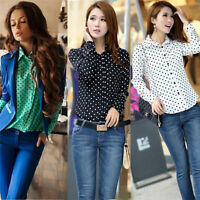 Fashion Women Polka Dot Chiffon Long Sleeve Loose Top Blouse Summer Casual Shirt