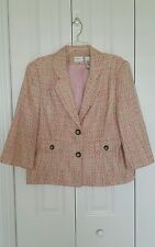 Emma James size 16 , 1X pink white gray woven fabric 3/4 sleeve lined blazer top
