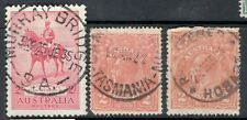 2d KGV ORANGE *TASMANIA Postmarks* *HOBART*  *MURRAY BRIDGE*  x 3 FU SG 62 SG156