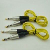 """1/4"""" stereo plug to TRS male connector 2pack 3ft balanced mic cable Yellow"""