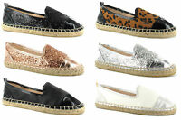 Womens Ladies Flat Espadrille Shoes Holiday Pumps Casual Comfort Sizes 3-9